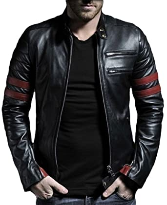 Exemplar Mens Genuine Lambskin Leather Jacket Black KL767 XS