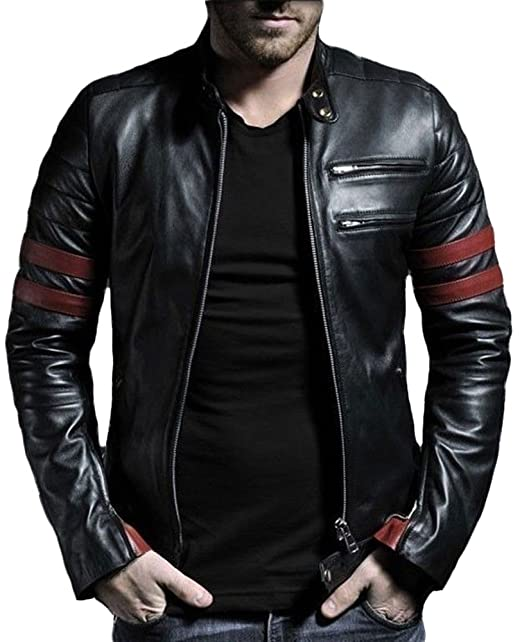 Paradigm mens black genuine lambskin leather stylish jacket SL767