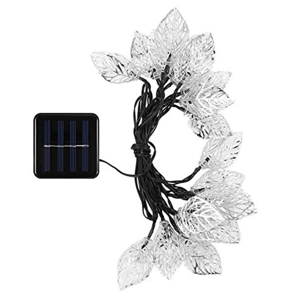 Businda Solar Leaves String Lights,Waterproof 20 LEDs 5 Meters / 16 Feet Decorative Christmas Lighting for Metal Ornament Wedding New Year Decorations (Colorful)
