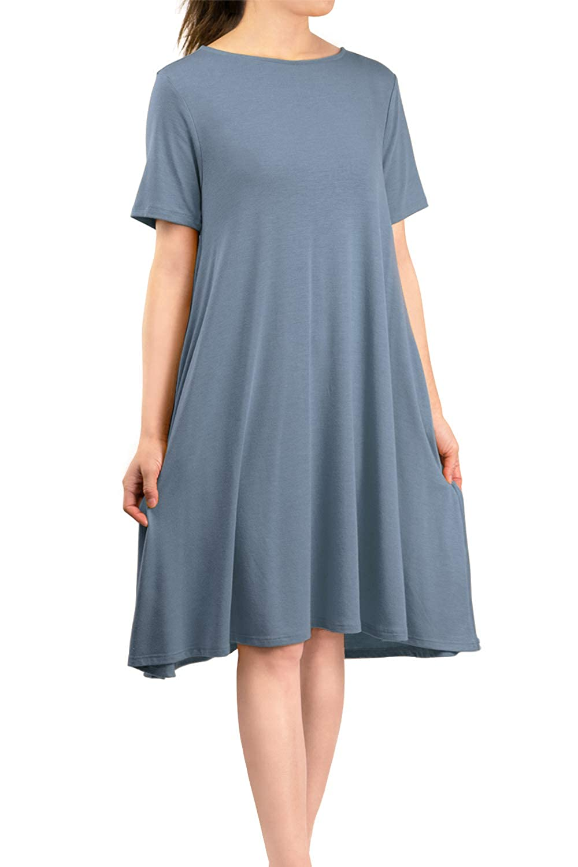 Cement Malibu Days Women's Side Pockets Short Sleeve Casual Basic Loose Plain Solid Flared T Shirt Midi Dress