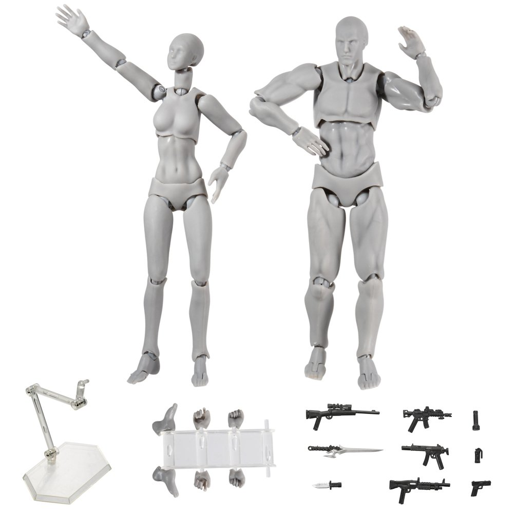 Action Figure Model,Tulas Human Mannequin male/female Set with Model Gun and Sword, Different Gestures,Special Display Base, Suitable for Sketching, Painting, Drawing, Artist, Cartoon Figures Action.