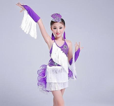 Los niños de la danza latina falda traje niña danza latina borla ...