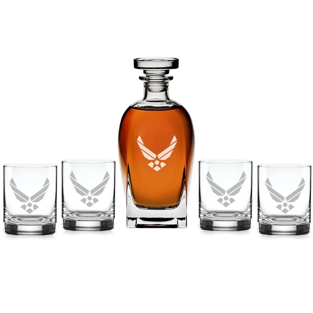 Abby Smith - US Airforce Classic Engraved Decanter with Rocks Glasses, Set of 5