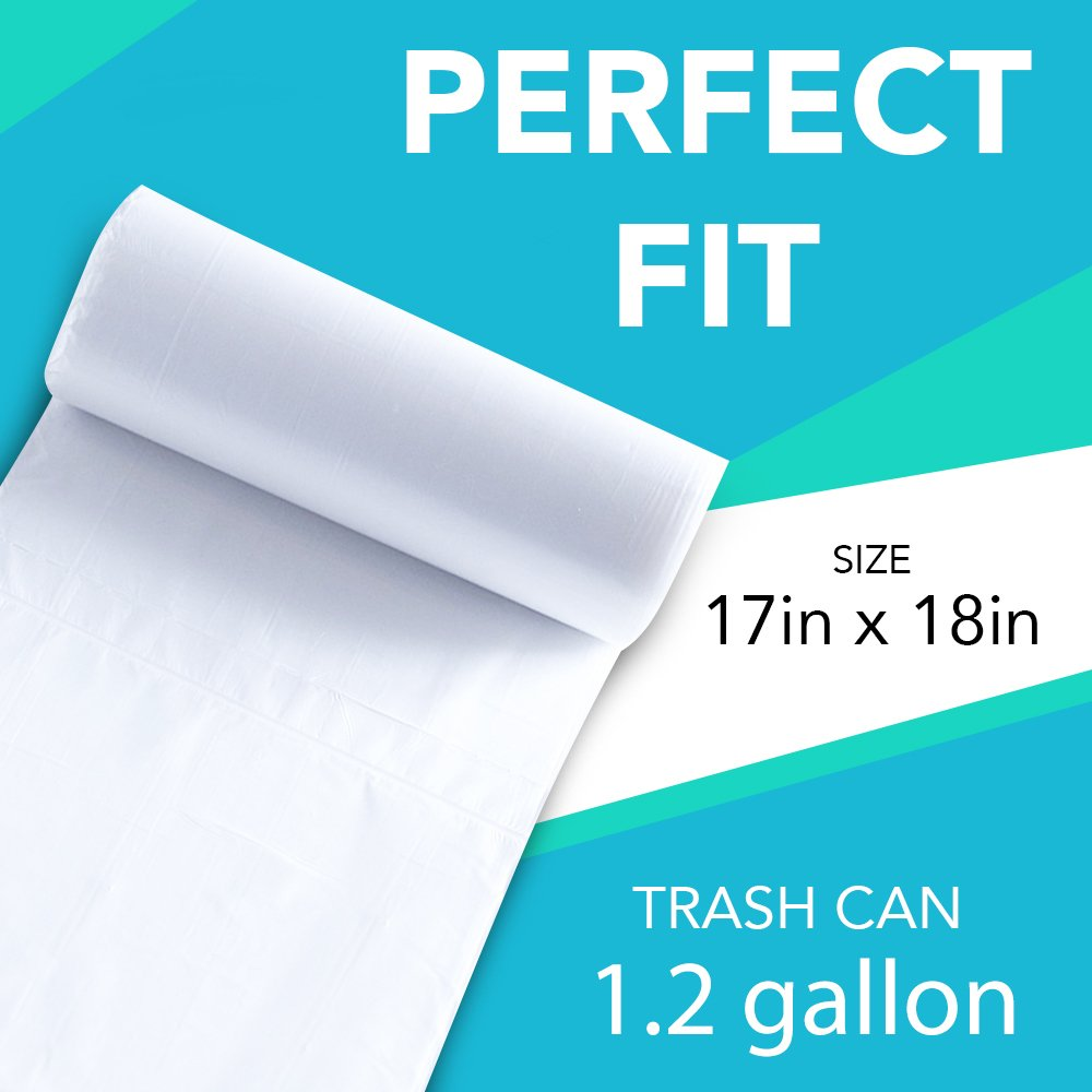 Upper Midland Products Small Clear Bathroom Trash Bags - 100, 1.2 Gallon Garbage Can Liners - Perfect for High End Restroom/Under The Sink Waste ...