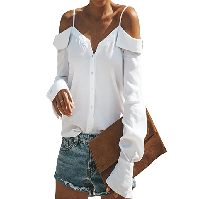 Camisa para Mujer Camiseta Manga Larga Sexy Hombros Descubiertos Spring Verano Otoño Blusa Elegante Casual Top