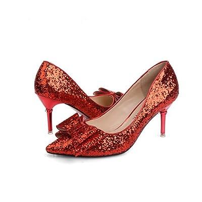 6 cm Chaton Talon Pompe Pointu Toe Sequin Chaussures De Mariage Robe Chaussures Femmes Couleur Pure Bowknot Bling OL Cour Chaussures Parti Chaussures Eu Taille 34-40
