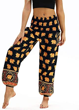 Amazon Com Honeystore Women S Boho Harem Yoga Pants Hippie Tapered Loose Beach Trousers Yci 032 Clothing