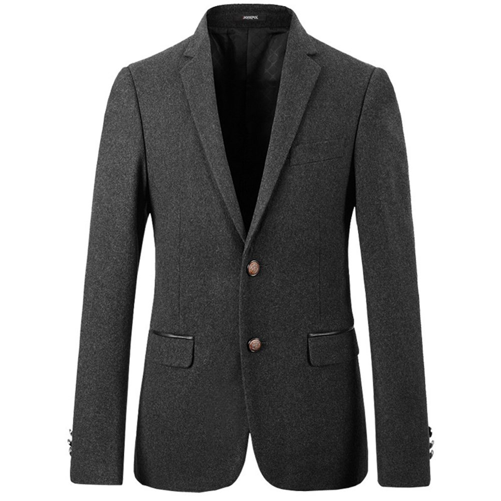 Insun Men's Solid Western Lapel Slim Fit Single Breasted Wool Blazer Jacket