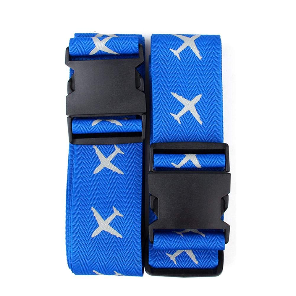 Winter-snow 2PCS Luggage Straps Travel Suitcase Belts with Fluorescent Pattern Name Tag