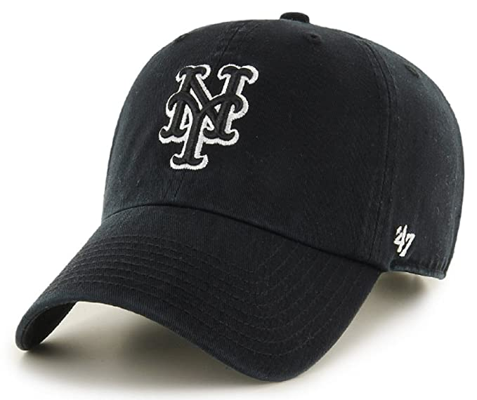 the best attitude 88025 ecad9 Image Unavailable. Image not available for. Color   47 Brand New York Mets  Black   White CleanUp Hat ...