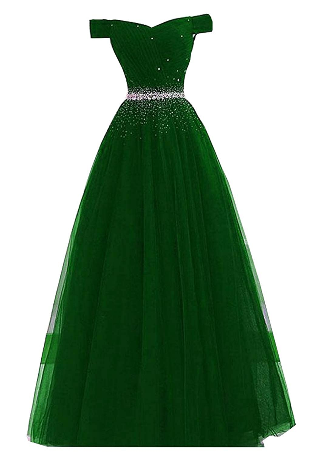 Green 20KyleBird Women's Off The Shoulder Prom Dresses Long 2018 Beaded Tulle Laceup Evening Party Formal Gowns KB022