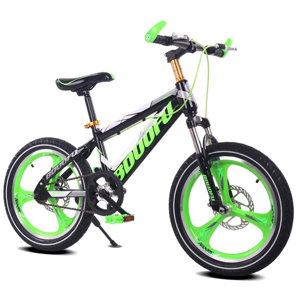 子供用自転車16/18/20インチマウンテンバイク5/8/10/14歳男性と女性の子供用自転車高炭素鋼フレーム、オレンジ/グリーン/レッド/ブルー (Color : 20 inch green) B07D1KXXD7