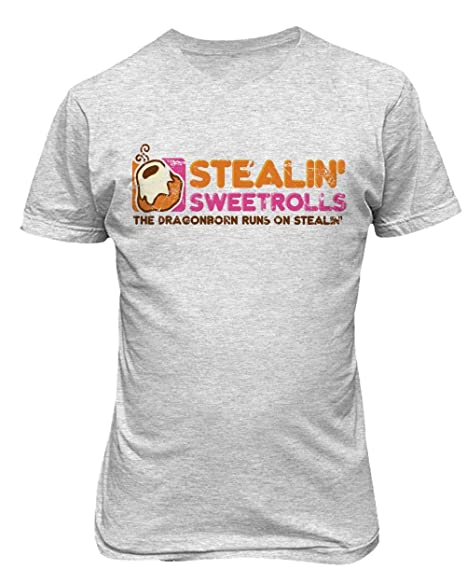 1ad86410 TMB Apparel New Novelty Shirt Dragonborn Dunkin Donuts Skyrim Stealing  Sweetrolls Men's T-Shirt (