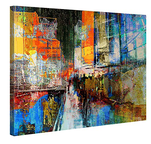 7TH AVENUE - Premium Canvas Art Print - 40x30 inch Large Wall Art Deco - Canvas Picture Stretched on Wooden Frame