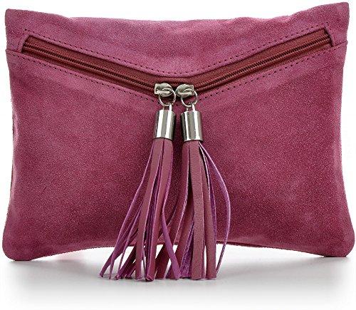 CNTMP - bolso para señora, clutches, clutch, bolsos de mano, bolsas de noche, bolsas de fiesta, bolsos de tendencia, gamuza, ante,flecos,bolso de cuero, 23 x 16, 5x1cm (l x an x a) Rosa