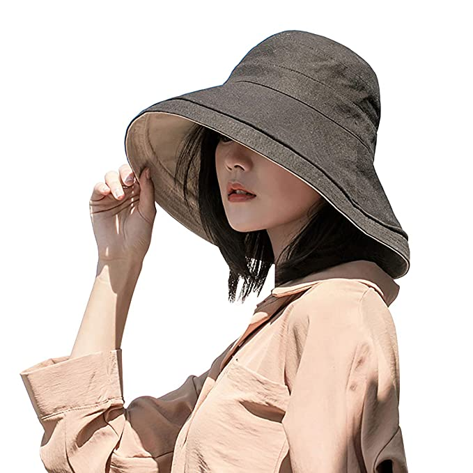a82281eb9621f FaroDor Women Reversible Bucket Hat UV Sun Protection Wide Brim Summer Beach  Hat Packable Black