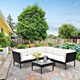 TANGKULA 6 Piece Patio Furniture Set Outdoor Lawn Garden Wicker Rattan Sofa Lawn Garden Steel Frame Sectional Conversation Sofa Set with Removable Cushions and Glass Top Coffee Table(Black) Review