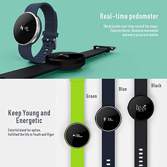 V60s IP67 resistente al agua Fitness Smart Watch Smart Reloj Bluetooth - Rastreador de fitness con medición de tensión arterial Monitor Dormir, despertador, ...