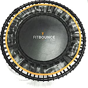 FIT BOUNCE PRO Half Folding Quietest Bungee Sprung Mini Trampoline with Storage Bag and Bounceometer