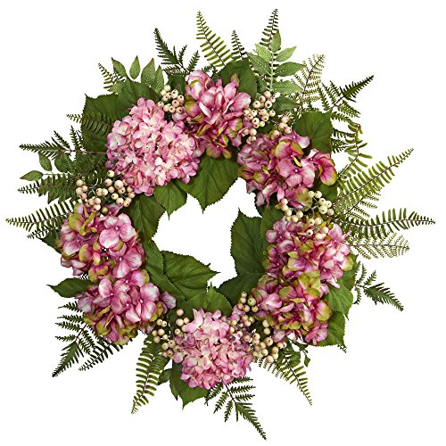 "Nearly Natural 24"" Hydrangea Berry Wreath, Pink (Wreath Green Hydrangea)"