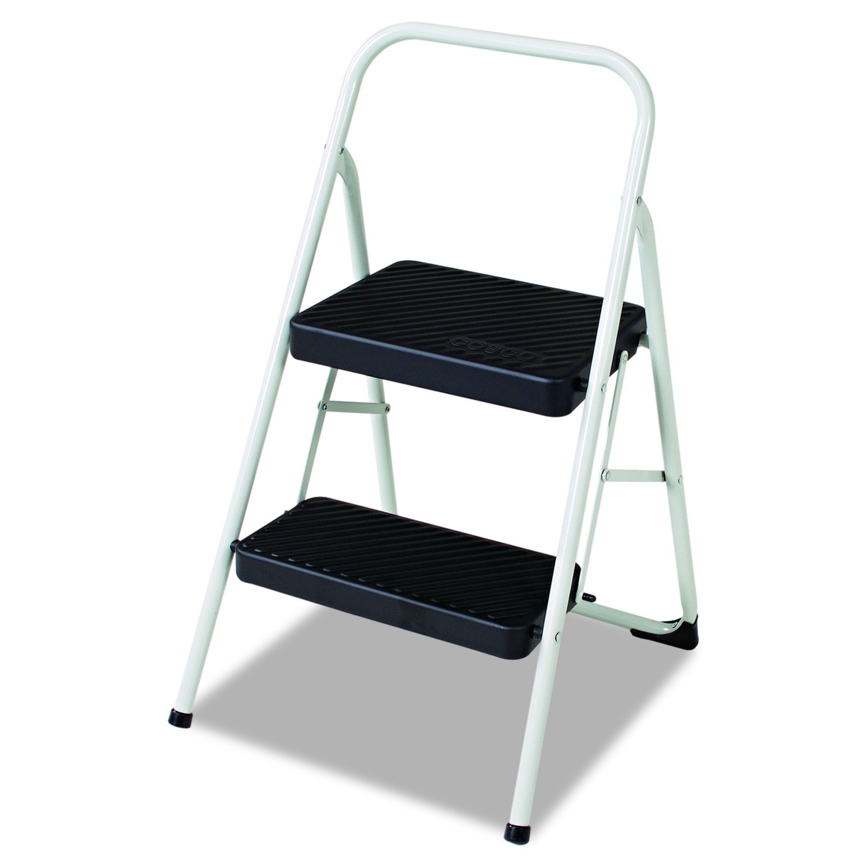 Cosco 11135CLGG1 2-Step Folding Steel Step Stool, 200lbs, 17 3 8w x 18d x 28 1 8h, Cool Gray