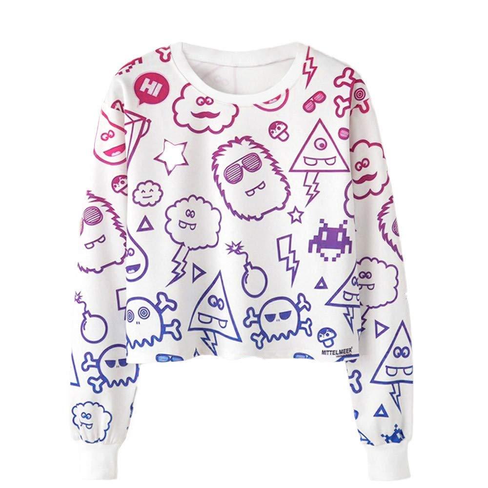 BRZM Fashion Hoodies Klassische Warm Sweatshirts Damen niedlich Sweatshirt wenig Cartoon geerntet Pullover Sport Kurze Pullover Tops (Farbe : White 2, Größe : Large)