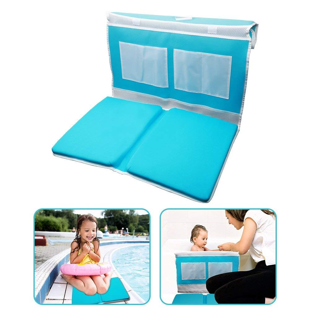 Bath Kneeler and Elbow Rest Safety Bath Kneeling Pad for Baby Bath Time - Comfy, Thick, Large Cushioned Mat Waterproof Bathtub Padding with Toy Organizer Anti-Skid and Detachable Design - Blue by ZMunited