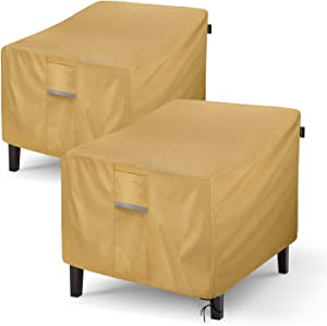 """Sunkorto Patio Chair Cover, Waterproof Heavy Duty Outdoor Lawn Patio Furniture Cover, 35"""" W x 38"""" D x 31"""" H Seat Cover, Light Brown, Pack of 2"""