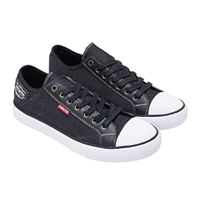 Levis Mens Black Denim Slip On Sneakers Tennis Shoe w Comfort Tech for Everyday Wear  Assorted Sizes and Colors  OBUPRGIT7