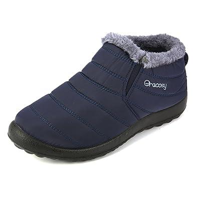 Winterstiefel, Gracosy Unisex Leicht Schneestiefel Warm Gefütterte Schuhe Winter Sneakers Bootsschuhe Kurzschaft Stiefel für Damen Herren Blau 45