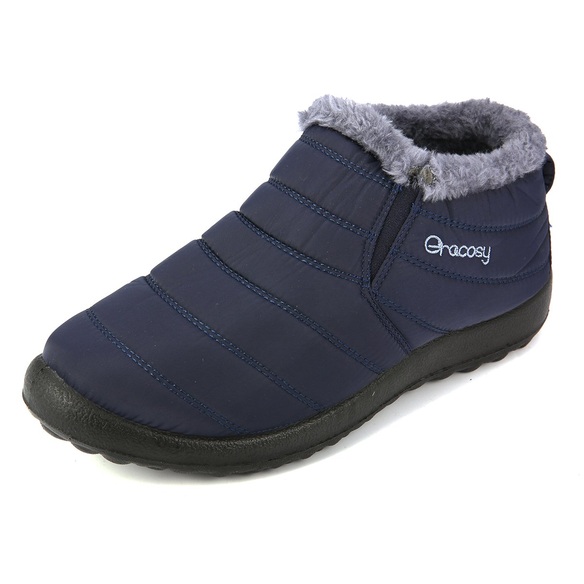 Gracosy Warm Snow Boots, Winter Warm Ankle Boots,Fur Lining Boots,Waterproof Thickening Winter Shoes for Women Blue 10 US