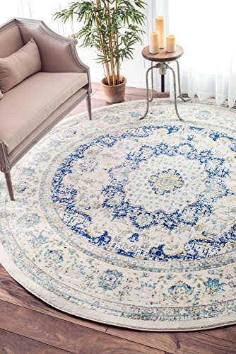 nuLOOM Persian Verona Distressed Round Rug, 5' Round, Blue (Rug Round Ft 5)