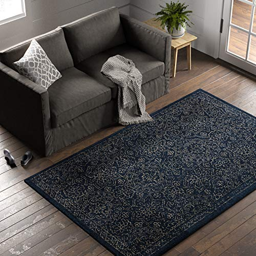 Stone Beam Contemporary Floral Medallion Wool Rug, 5 x 8 , Blue on Blue