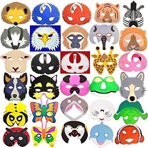 30 Animal Childrens Foam Masks - Rainforest, Ocean, Farm, Insect & More!