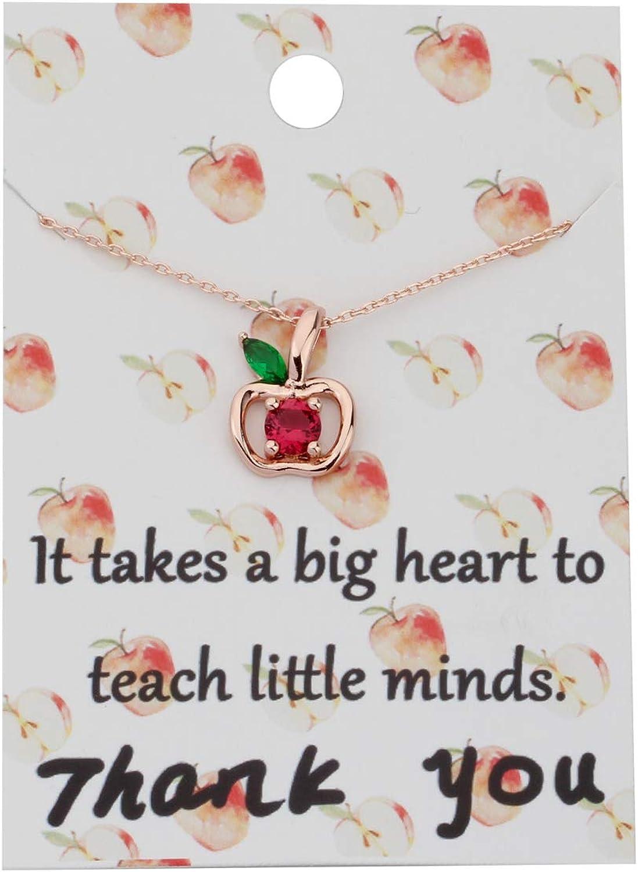 Zuo Bao Teacher Apple Necklace Apple Pendant Appreciation Gifts Plated Silver Apple Red Zircon Green Zircon Apple Leaf Necklace Thank You Gift for Teacher
