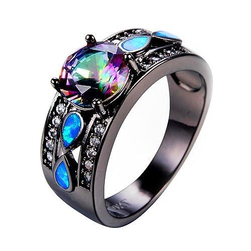 Amazon.com: F&F Joyería Arco Iris Circonita Azul Fire Opal ...