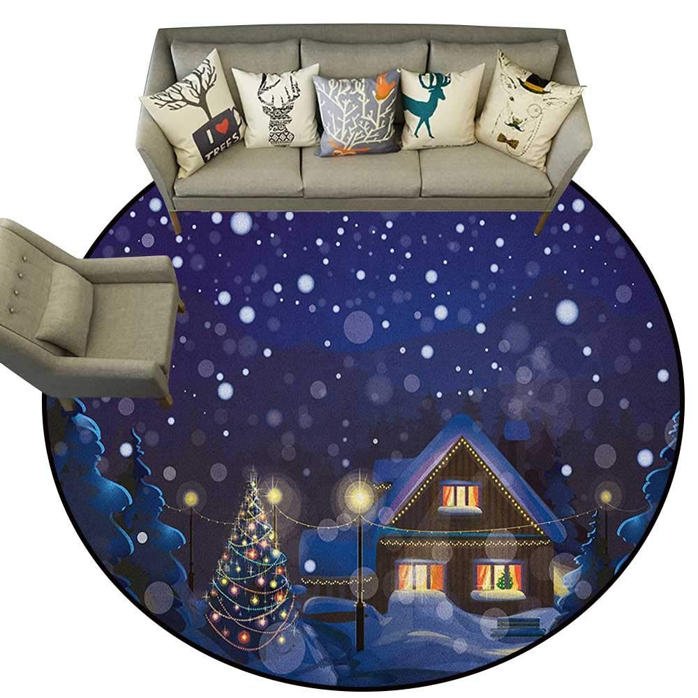 Style07 Diameter 54(inch& xFF09; Christmas,Floor mats for Trucks Winter Doodle Happy New Year Themed Abstract Trees with Snowflakes D54 Door Mat Living Room Non-Slip
