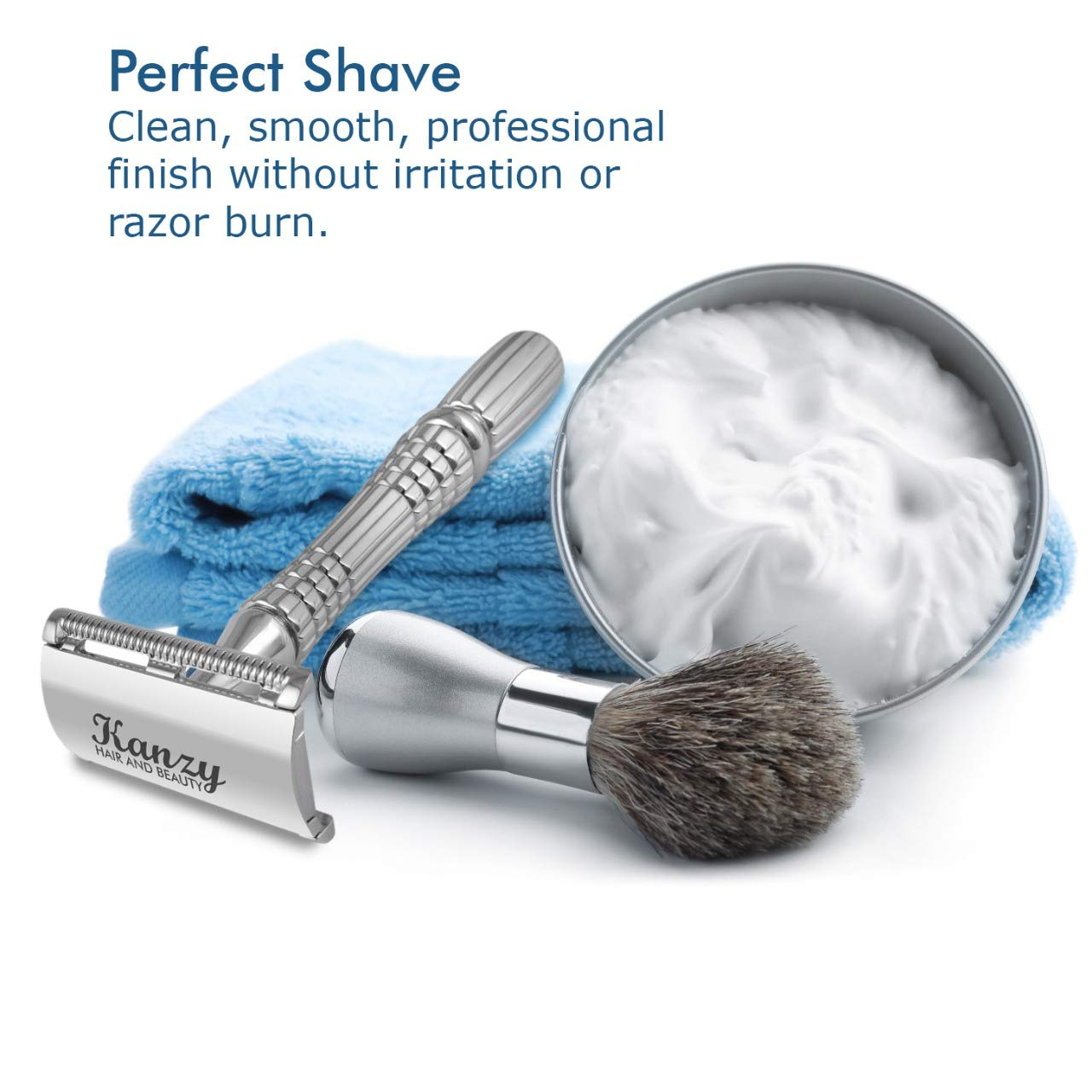 KANZY Double Edge Safety Razor | High quality Shaving KIT, classic Razor for men and women for the perfect shave.