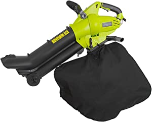 Electric Leaf Blower, Vacuum & Shredder Mulcher | 3-in-1 Home & Garden Lawn Tool with Blower Vac Bag (SereneLife PSLHTM34), Black