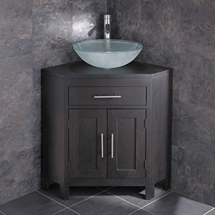 Clickbasin Alta Bathroom Corner Cabinet In Wenge Oak With Round Glass Sink Amazon Co Uk Kitchen Home