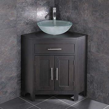 Beautiful clickbasin altamobile ad angolo per il bagno in legno weng con lavandino in with for Mobili bagno ad angolo