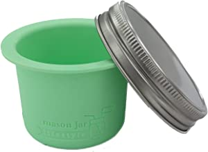 Divider Cup by Mason Jar Lifestyle - For Salads, Dips, and Snacks. Plastic Free Bento Lunch Container for Adults and Kids (Mint Green, Wide Mouth)