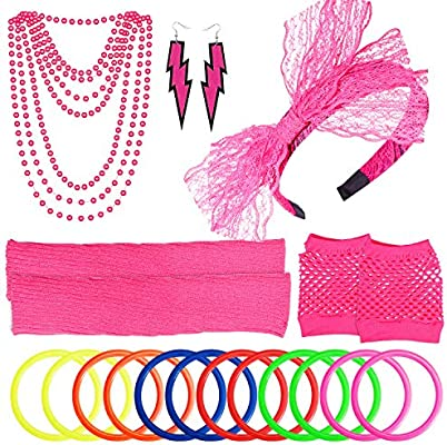 80S Outfit Costume Accessories Set Neon Earrings Leg Warmers Fishnet Gloves