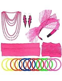 Women's 80s Outfit Costume Accessories Set Neon Headband Earrings Fishnet Gloves Leg Warmers Necklace Bracelet