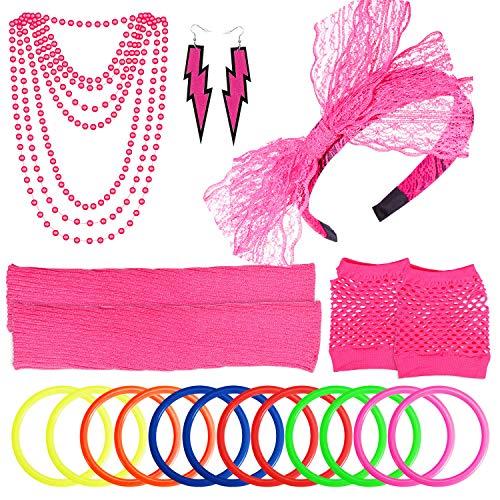 PAXCOO Women's 80s Outfit Costume Accessories Set