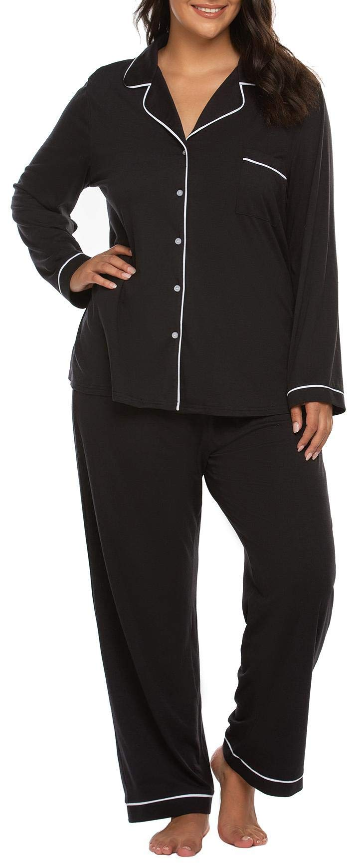 IN'VOLAND Women's Plus Size Pajamas Set Long Sleeve Sleepwear Button Down Night Shirt Soft Pjs Lounge Sets16W-24W Black by IN'VOLAND