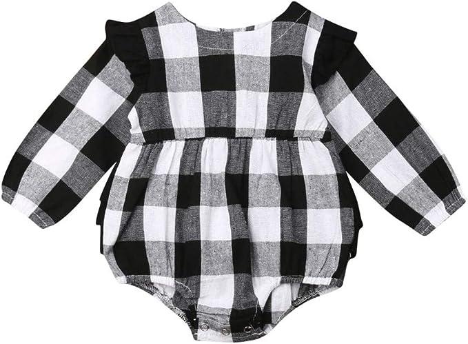 Amazon.com: Bebé recién nacido niña Navidad búfalo a cuadros ...