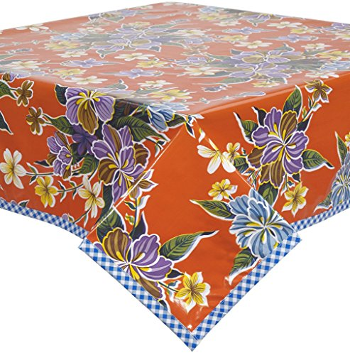 Hawaii Orange Oilcloth Tablecloth with Blue Gingham Trim You Pick the Size by Freckled Sage Oilcloth Products