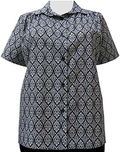 A Personal Touch Women's Plus Size Black & White Damask Tunic