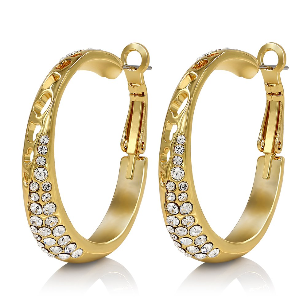 Kemstone Rose Gold/Gold/Silver Plated Tone Crystal Hoop Earrings for Women 52216006-CA